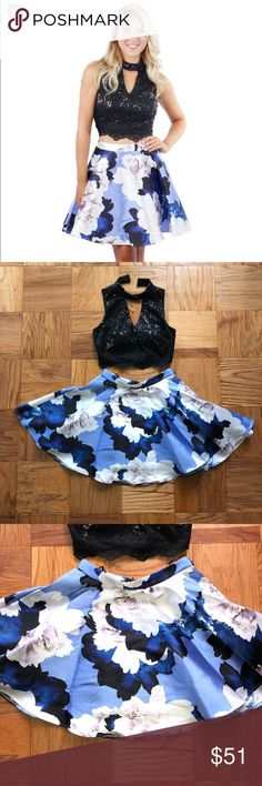 2PC Sequin Top Print Skirt Get ready for any formal, prom, or NYE Party with this fabulous 2- piece top and skirt set!!! Never worn! City Triangles Skirts
