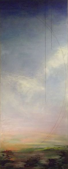 "Alicia Tormey | Skyscape I | encaustic and mixed media on panel, 80""x32"" sm - So peaceful"