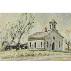 Church North of East Otto By Charles Burchfield ,Circa  1952