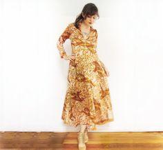 Vintage 70s Dress . Amazing Big Cat Caftan . by GinnyandHarriot, $68.00
