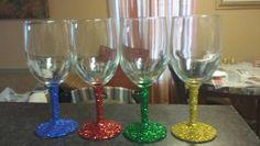 Glittered wine glass stems