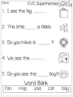 CVC Sentences for Kindergarten and First Grade Freebie!