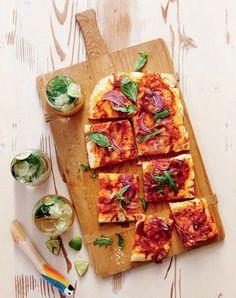 Prosciutto, Mozzarella and Rocket Pizza - The Singapore Women's Weekly Mozzarella, Prosciutto Crudo, Sample Recipe, Tomato Pasta Sauce, Sifted Flour, Tray Bakes, Bon Appetit, Vegetable Pizza, Crisp
