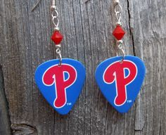 Blue Phillies Guitar Picks with Red Crystals by ItsYourPick on Etsy