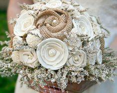 Rustic Bridal Bouquet, Natural Burlap // Wedding Bouquet, Burlap Bouquet, Wedding Flowers, Dried Flower Bouquet, Bride Bouquet, Sola Flowers