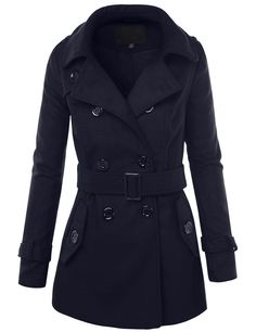 LE3NO Womens Long Button Down Double Breasted Peacoat Jacket With Belt | LE3NO