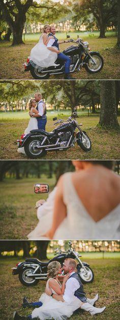 wedding photography ideas, fun photos of bride and groom on groom's motorcycle during bird island lake ranch wedding