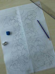 Çini Hand Embroidery Dress, Embroidery Applique, Embroidery Patterns, Tile Patterns, Pattern Art, Tambour Beading, Border Embroidery Designs, Mandala Doodle, Islamic Art Pattern