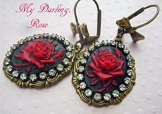#downton abby jewelry ~ Red Spanish Rose Cameo style Earrings with vintage rhinestones by accessoryalamode on Etsy, $19.50