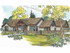 Floor Plan AFLFPW00297 is a beautiful 2523 square foot  Craftsman  home design with 2 Garage Bays