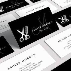 Black White Monogrammed - Hair Salon Hairstylist Business Card Template