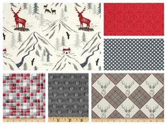 Custom Stag Baby Boy Bedding - Blanket, Sheet & Skirt in Grey and Red