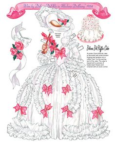 Costume worn by Delores De Rio in Madame Dubarry plus ruffle cake dessert. Page 1 or 8 Pages. By David Wolfe, Paperdollywood. Available for purchase at paperdollreview.com