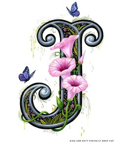 Daily Drop Cap by Gina & Matt - beautiful lettering including this gorgeous one Alphabet Art, Alphabet And Numbers, Letter Art, Illuminated Letters, Illuminated Manuscript, Creative Lettering, Hand Lettering, Stoff Design, Fancy Letters