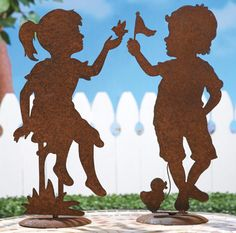 Rustic Children Playing Garden Shadow Tabletoppers
