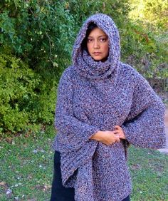 Hooded Cowl Neck Poncho  - Free Crochet Pattern -PatternConnection
