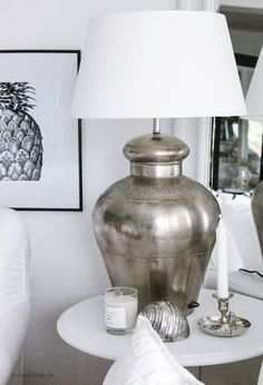 Pewter Punched Metal Prema Table Lamp