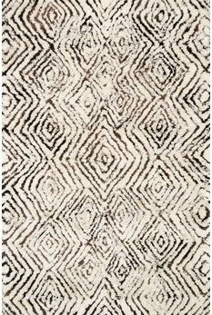 """Folklore Collection FW-03 IVORY / GRANITE Hand Woven Polyester 
