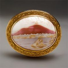 Antique Cameo Sailboat Motif Brooch in 14K. So nice to see a cameo with something other than a portrait, don't you agree?