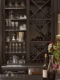 Interior ~ Home Bar Design Focus On Modern Criss Cross Diy Wine Rack And Compact Glass Storage Shelves Idea Creative DIY Wine Rack for Beautiful Home Design. - Home Designs 2017 Küchen Design, House Design, Interior Design, Design Concepts, Interior Ideas, Wine Cabinets, Kitchen Cabinets, Cupboards, Kitchen Appliances