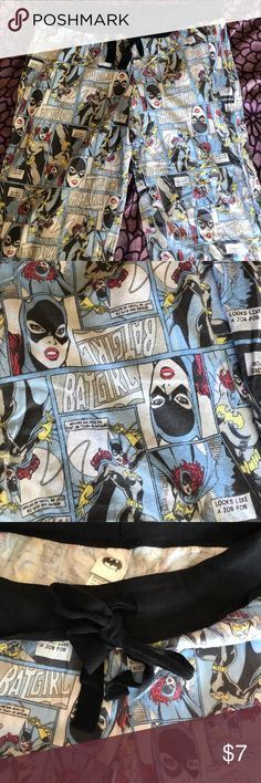 "Batgirl comic panel pj bottoms. Batgirl comic panel pj bottoms. Size large juniors. I am not gonna lie there is a big elastic band at the waist that twists and it drives me crazy that I have to adjust it after a wash. Inseam is about 26"". batgirl Intimates & Sleepwear Pajamas"