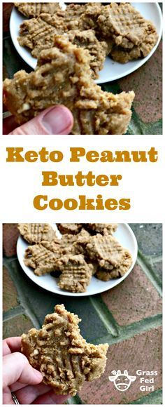 Low Carb and Keto Peanut Butter Cookies Grass Fed Girl Low Carb Sweets, Low Carb Desserts, Low Carb Recipes, Healthy Sweets, Ketogenic Recipes, Keto Peanut Butter Cookies, Keto Cookies, Low Carb Protein, Low Carb Keto