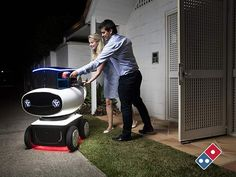 First self-driving Pizza delivery robot   , - ,   Domino's unvei...
