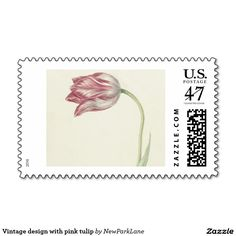 Stamp with vintage design with pink and white tulip  #flowers #watercolor #art #postage  http://www.zazzle.com/vintage_design_with_pink_tulip_stamp-172751728644495517?rf=238731775801296307