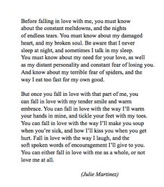 You can either fall in love with me as a whole, or not love me at all.