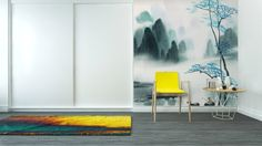 Chinese landscape watercolor painting Wall Mural - Vinyl ✓ Easy Installation ✓ 365 Day Money Back Guarantee ✓ Browse other patterns from this collection!