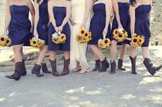 navy blue bridesmaid dresses and cowboy boots24. Love. cowboy boots, sunflowers ...