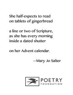 """Advent"" by Mary Jo Salter"