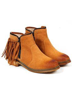 Brown Brush Round Toe Tassel Zipper Boots 45.66