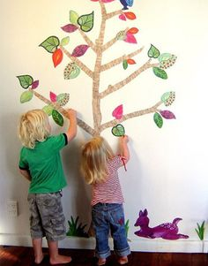 """Perfect for the kid who won't stop taking crayons to your newly painted walls, these reusable fabric wall decals let children make art on the walls without leaving any permanent marks. Stickytiki sells the decal sets for $119, and that includes decals enough for a tree with 10 branches and 30 leaves, grasses, an owl, a butterfly ... and a purple deer. (Stickytiki is the New Zealand couple Kim, the painter, and Si, the """"computer geek"""" ... plus some QA help from their kids, Zavia, Jasper and…"""