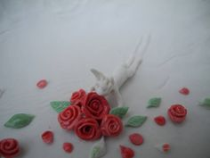 Smell the roses! - porcelain story bowl with a rabbit sliding into a bed of roses  -incl gift box by TwoTreesWorld on Etsy