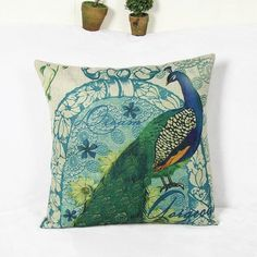 Retro Peacock and flower Pattern Home Hold Decorative Pillow Case