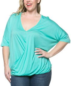 Look what I found on #zulily! Mint Hi-Low V-Neck Top - Plus by Serene Blue #zulilyfinds