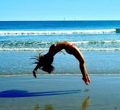 Back handspring on the beach