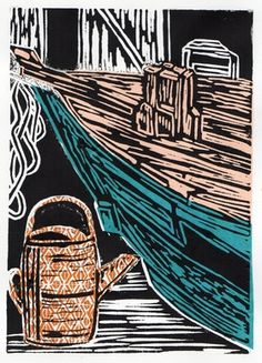Boat and watering can linocut with chine colle by Anna Robertson