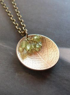 Green peridot leaf pendant textured brass metalwork or DIY and use a leaf and clay