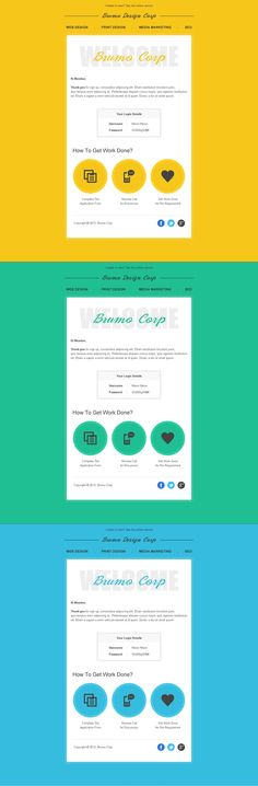Brumo : Welcome message email template with three color options.