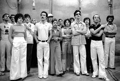 The Original Broadway Cast of A Chorus Line in the recording studio.