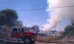 Rural Metro responds to a hay stack fire near Mojave Avenue and Eighth Street.