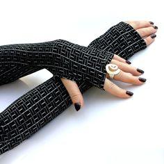 Black , Long Fingerless Gloves -  Arm Warmers , Gloves , Hand Warmers , Cuffs , Victoriian , Goth , Cotton. $24.00, via Etsy.