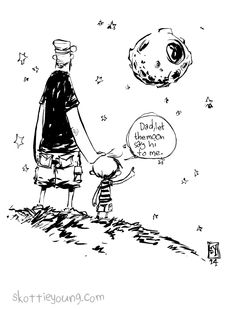 """#DailySketch """"Let moon say hi to me."""" My son asks to """"let""""everything say hi to him. Toys, food, and my favorite, the moon. This has sparked an idea for a children's book that i'm toying around with names… Let the moon say hit to me. :) Original art available in my store.http://skottieyoungstore.bigcartel.com I uploaded a VIDEO as well."""