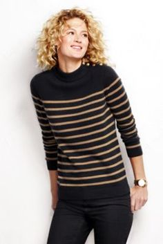 Women's Year Round Cashmere Stripe Button Mock Sweater from Lands' End