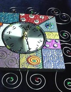 polymer clay wall art | Fimo and Wire Wall Clock - Handmade with Fimo and Polymer Clay ...