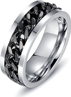 Men's Fashion Black Stainless Steel Wide 8mm Spinner Chain Shaped Ring