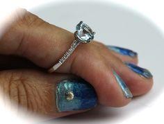 8mm Diamond Aquamarine 14K Ring By Kimberly Hahn www.kimberlyhahnstreasures.com