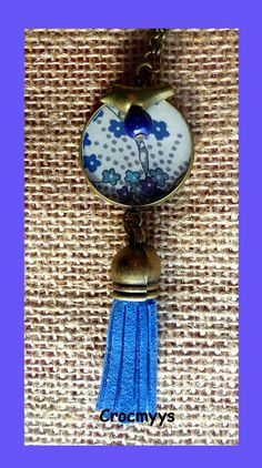 Sautoir rétro liberty mauvey violet : Collier par crocmyys